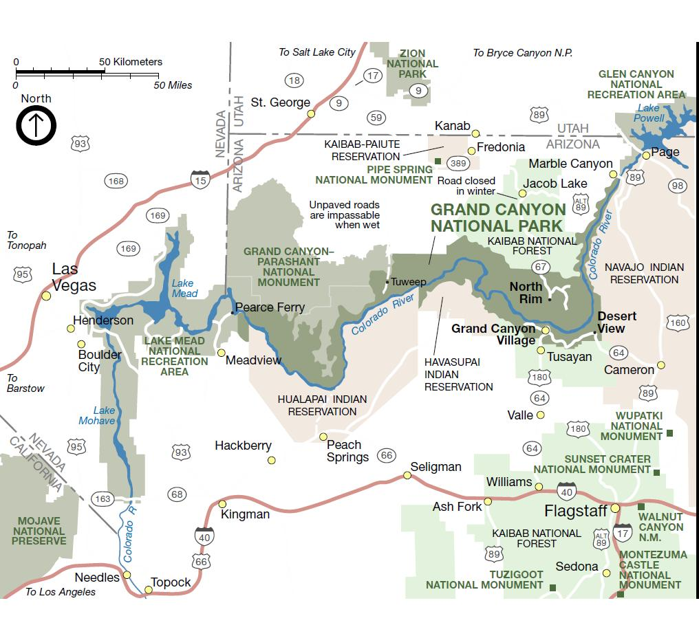 Grand Canyon Map Arizona